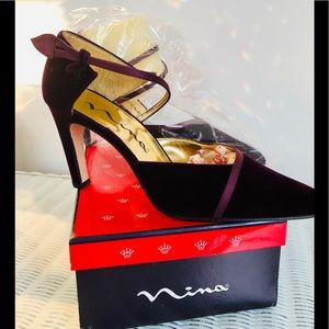 "NEW 2 pair Never worn rayon velvet &satin 4"" heels"